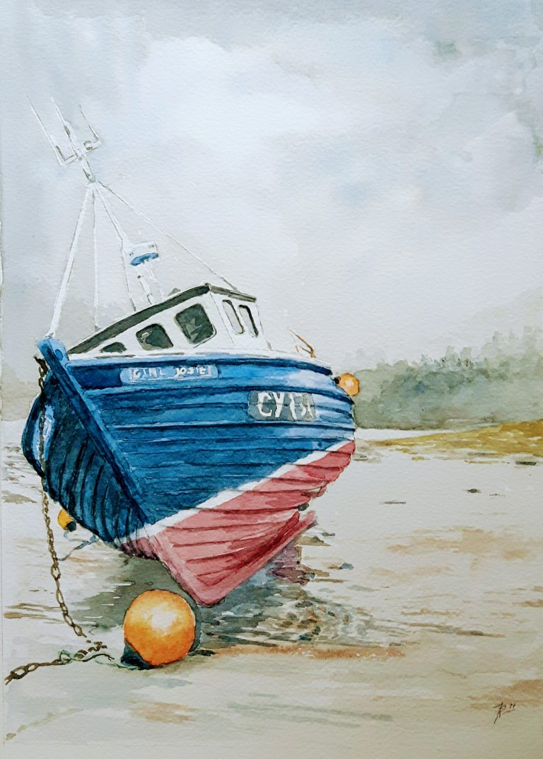 Watercolour of a small, blue Scotish fishing boat, the Girl Josie. In a moody landscape just after the rain has stoped