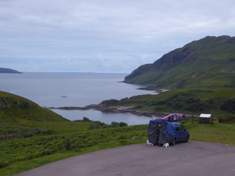 Mini campervan overlooking MaCleans Nose on Ardnamurchan