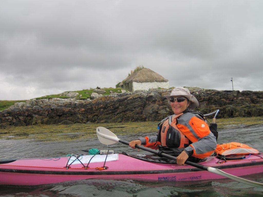 Charlotte Gannet in her kayak, a nimbus.