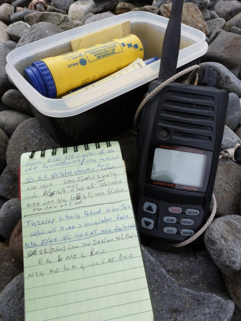 VHF and paper to  write down the forcast