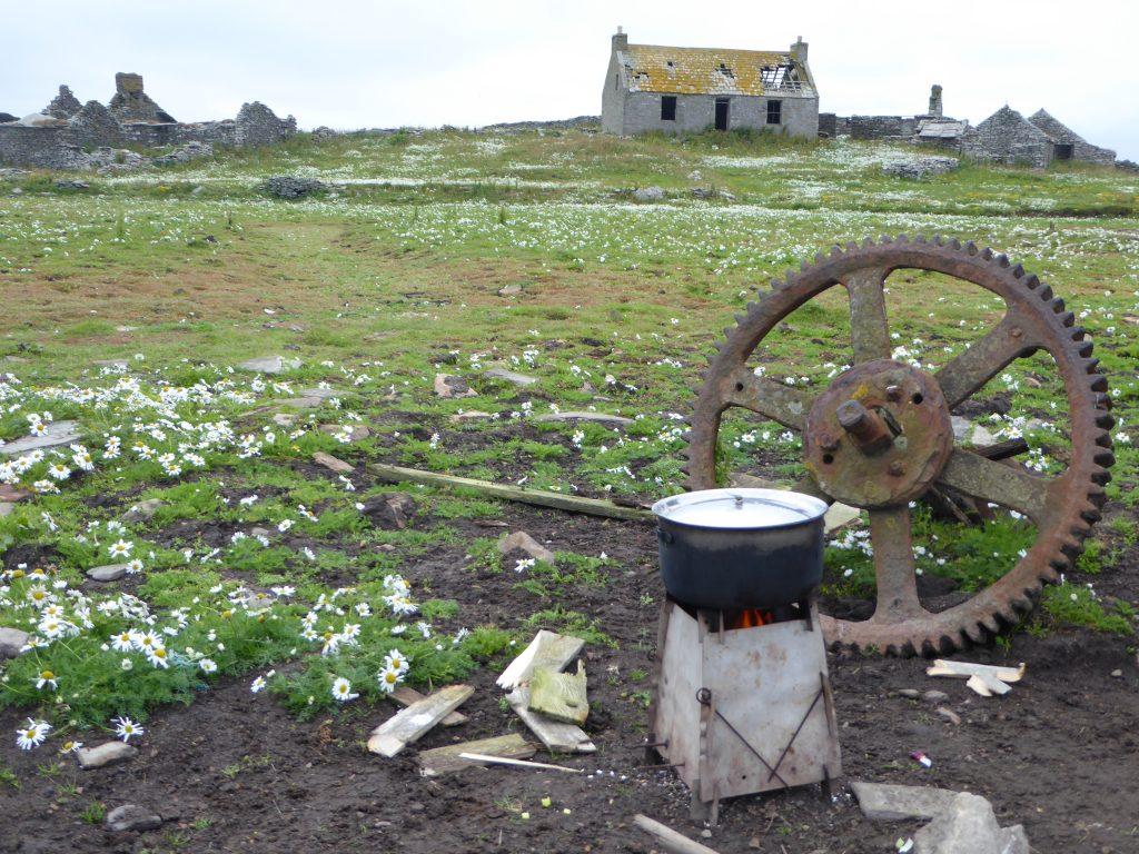 Cookining pot on a woodburning stove on the Shottish island of Swona