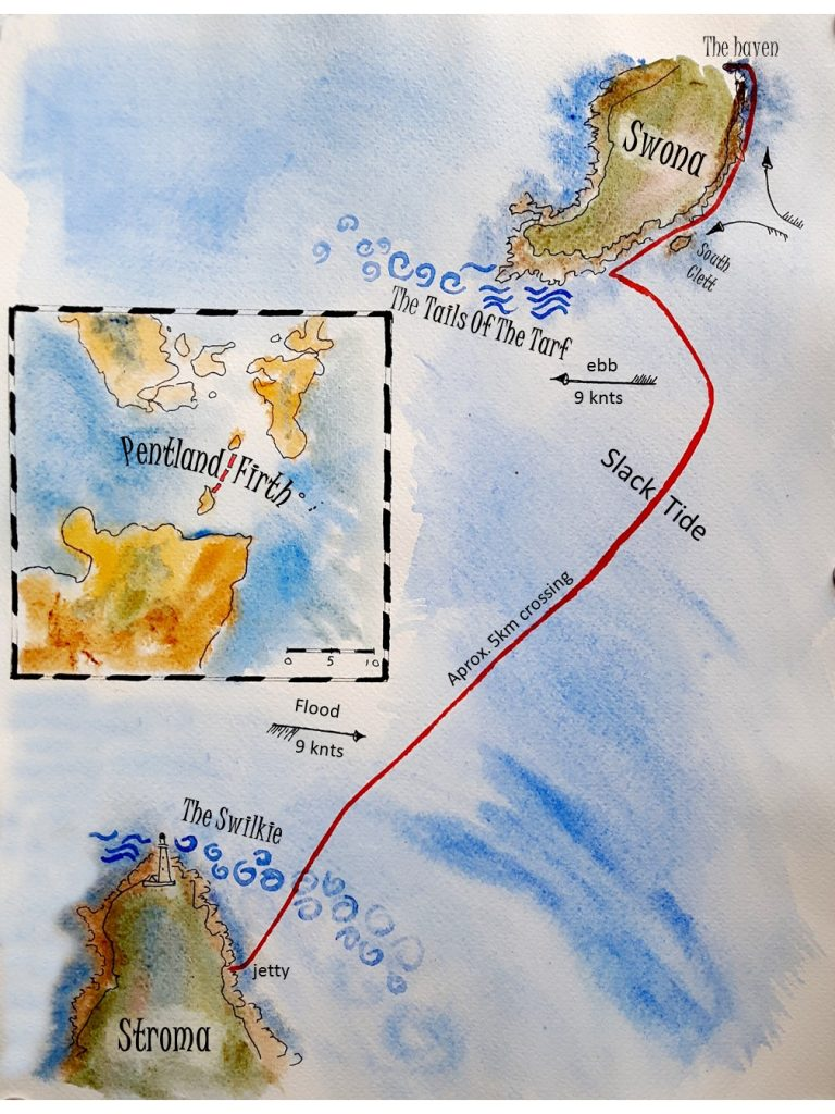 drawing of the crossing from Stoma to Swona
