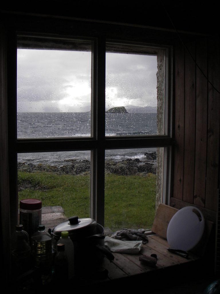Looking out of the Shiants bothy
