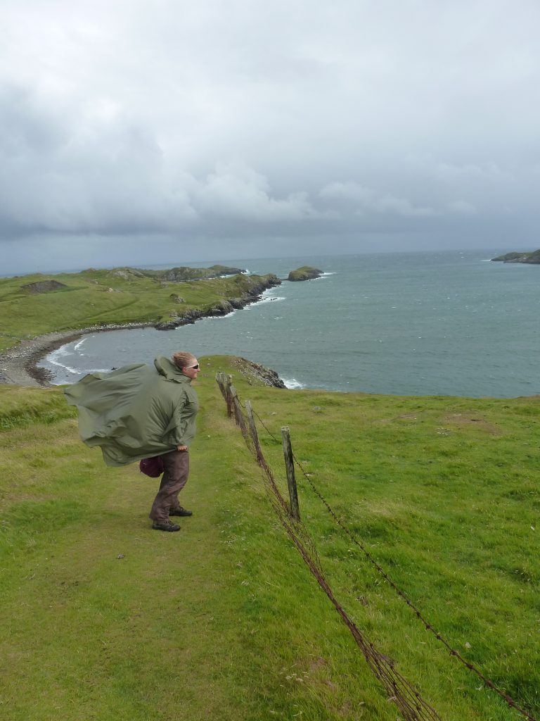Charlotte standing in a windforce 8 gale