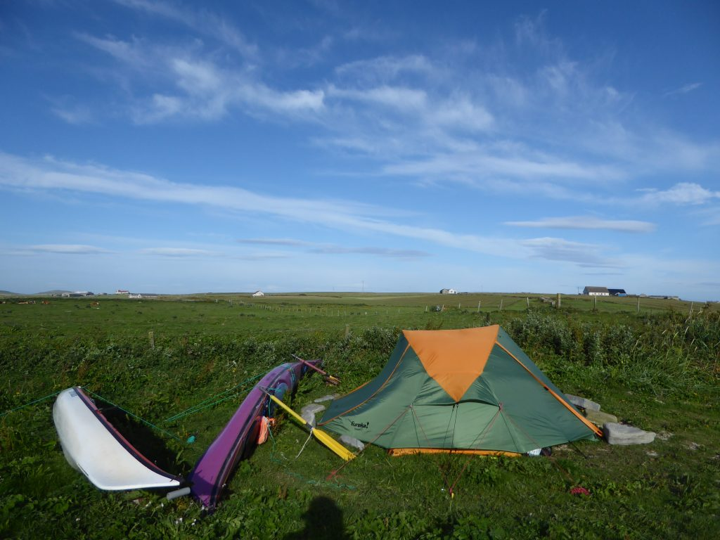 securing the tent with kayaks during windforce 8 gale
