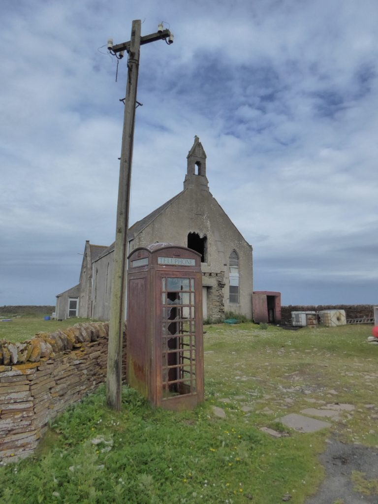 Church and telephonebox on Stroma