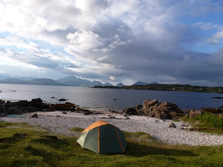 tent in Scottish landscape
