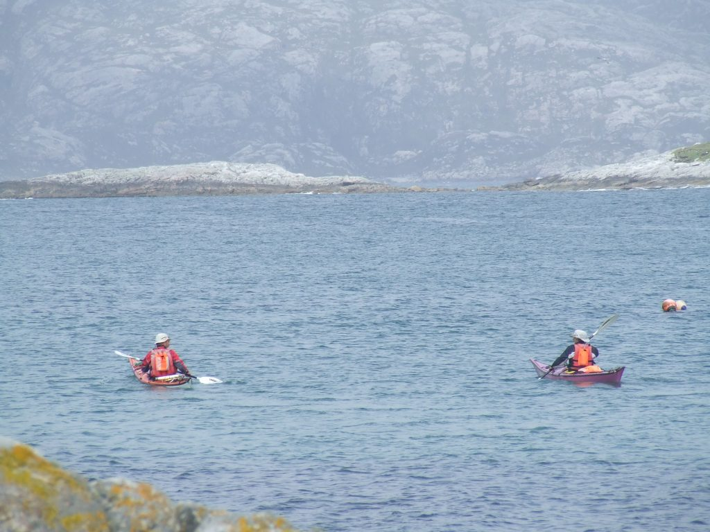 paddling away from Scarp