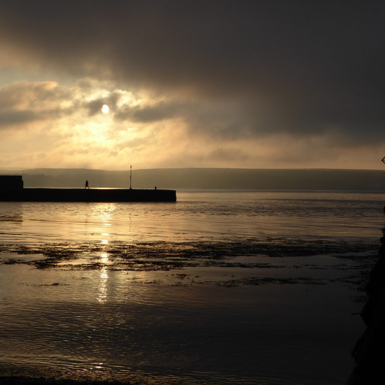 Beautiful sunset over Thurso harbour