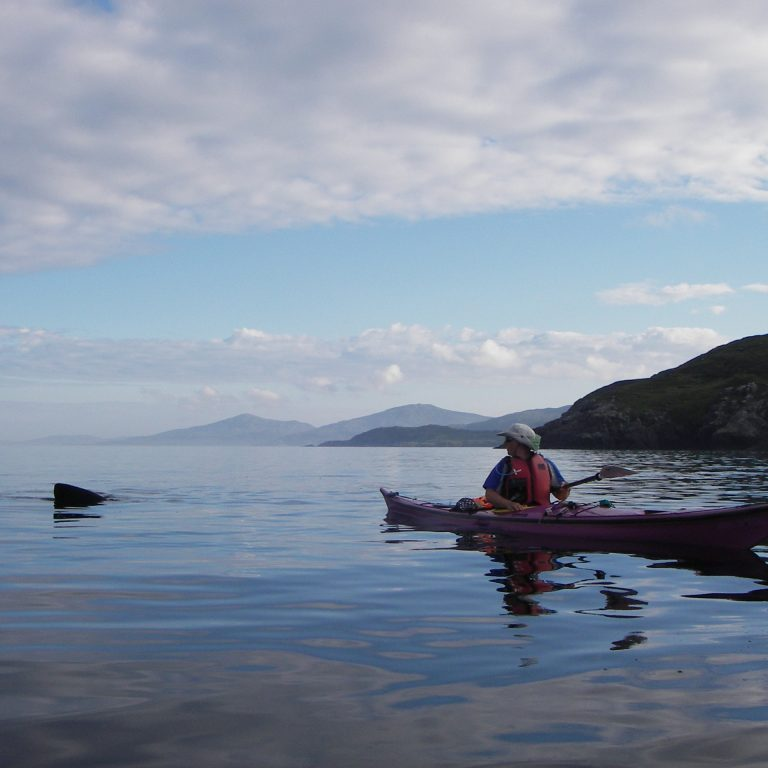 Charlotte in kayak with basking shark close to South Uist